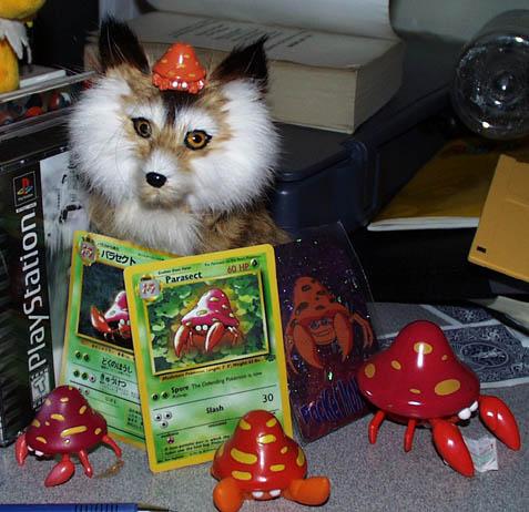 This is my shrine. My Parasect shrine next ta my keyboard. Da fox is irrevelant, tho. ^_^o